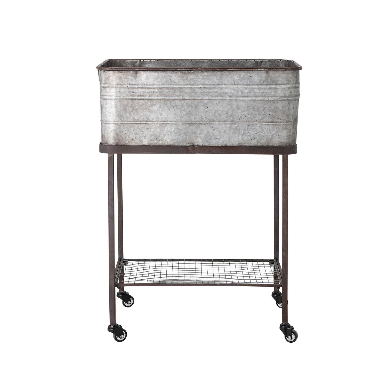 BLOOMINGVILLE rektangulær opbevaringskasse m. hylde og hjul - grå zink galvaniseret metal