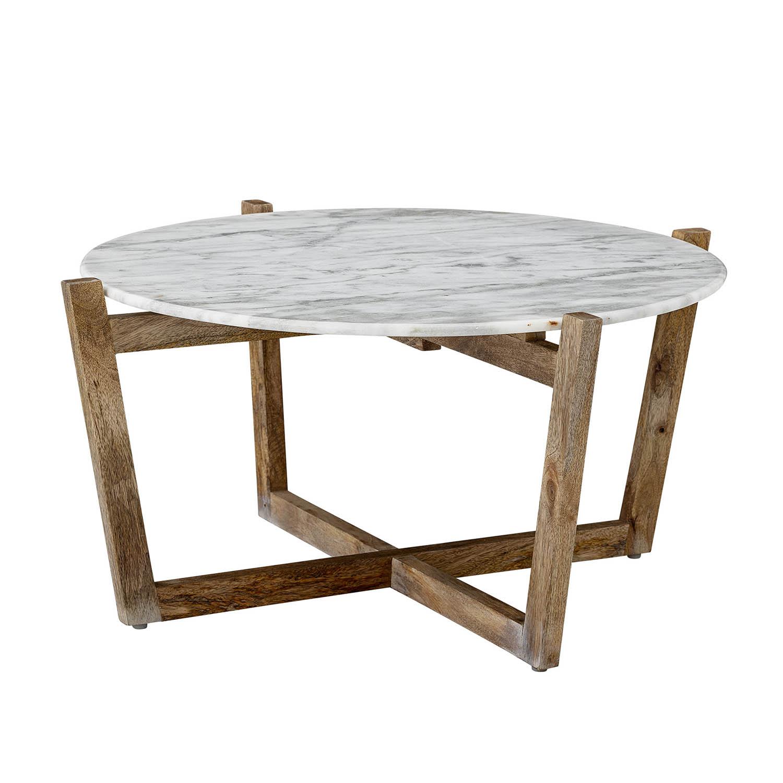 CREATIVE COLLECTION rund sofabord - marmor og brun mangotræ (Ø85)