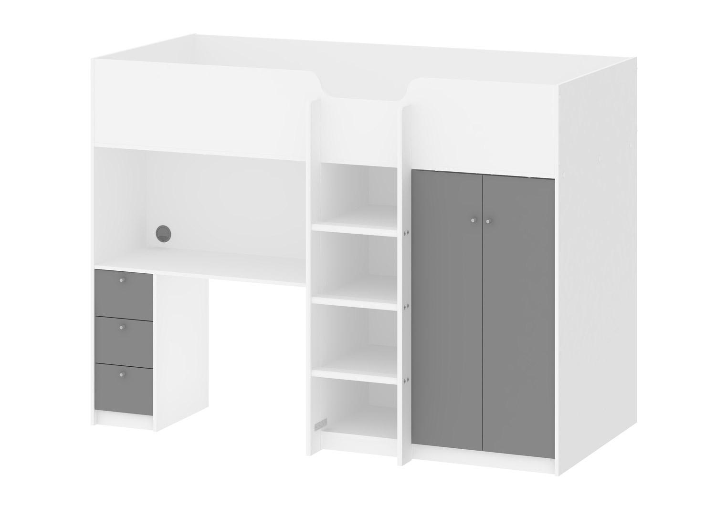 Lyon halvhøjseng - hvid/grå træ, m. skrivebord og opbevaring