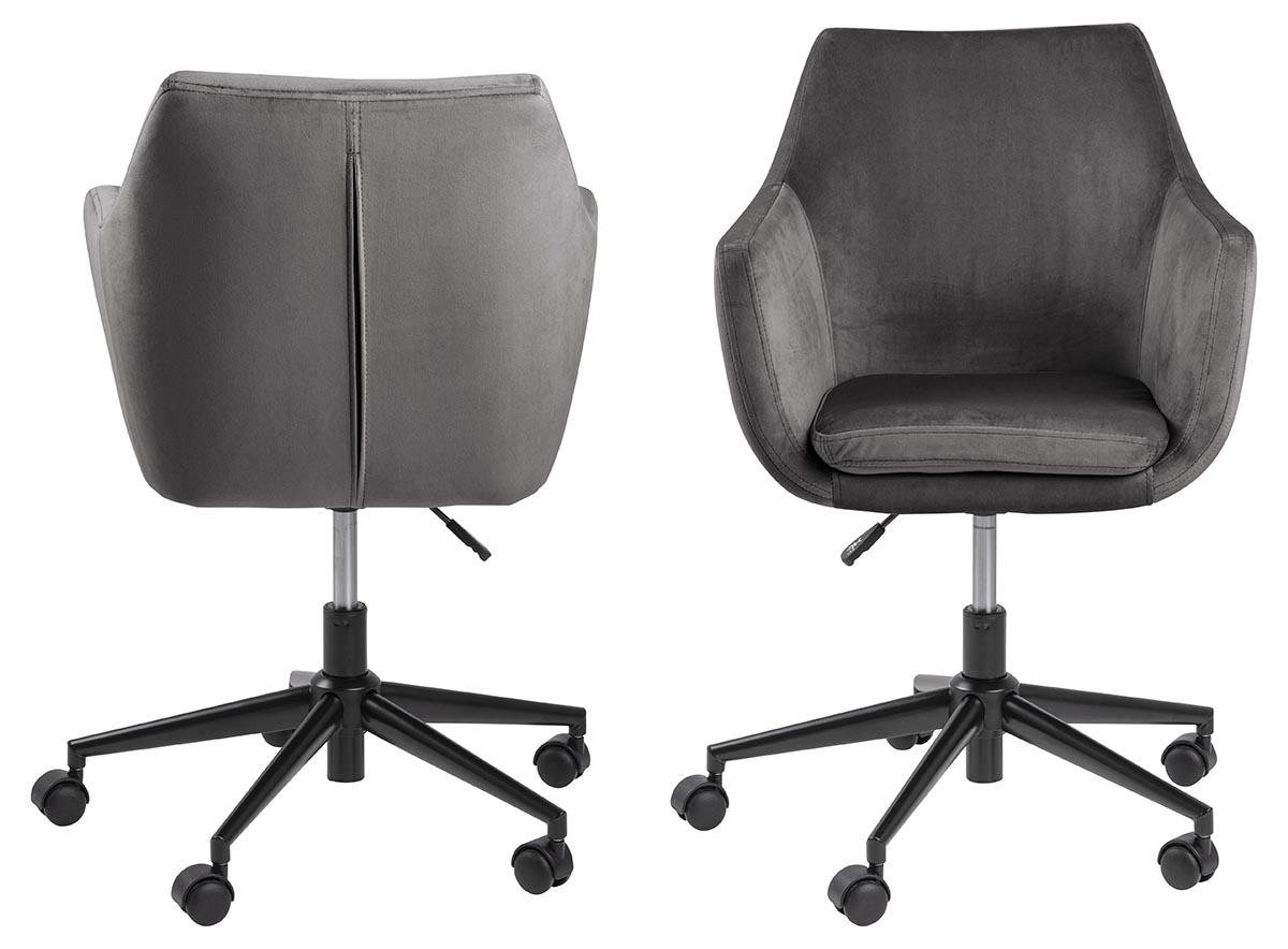 Billede af Act Nordic Nora skrivebordsstol - mørkegrå stof og sort, m. armlæn og hjul