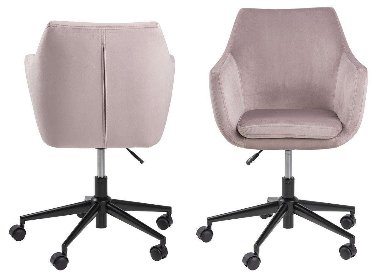 Nora skrivebordsstol - rosa stof og sort, m. armlæn og hjul thumbnail