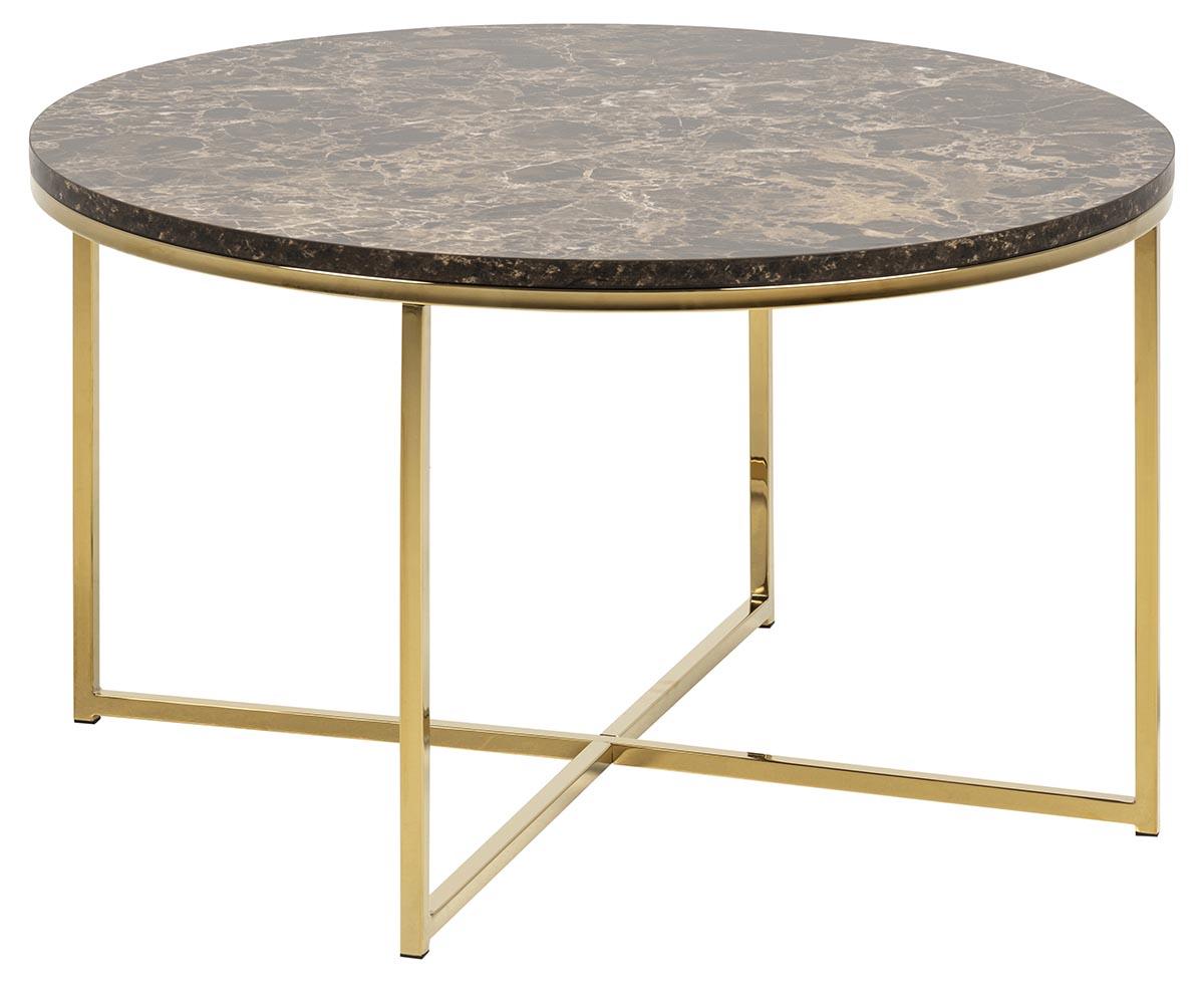 Image of   Alisma sofabord - brun/guld marmorpapir/metal, rund (Ø80)