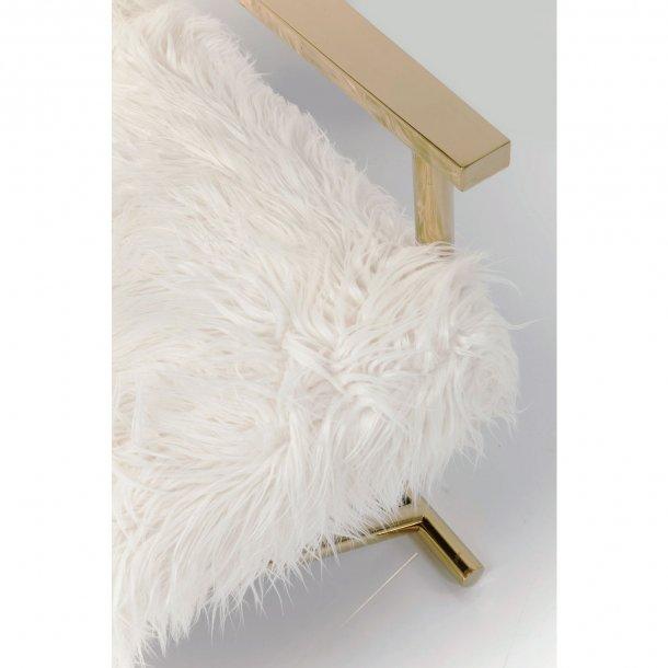 KARE DESIGN Mr. Fluffy lænestol - guld stål og hvid kunstpels, m. armlæn