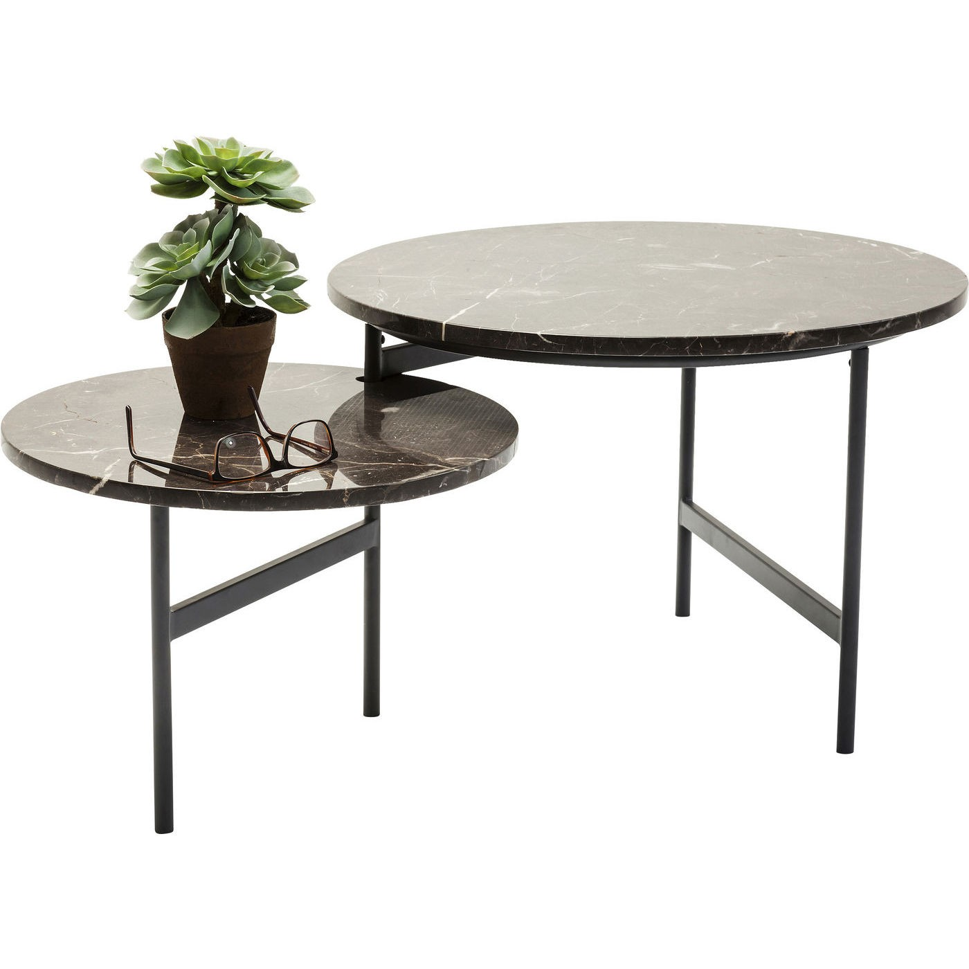 KARE DESIGN Monocle sofabord - brun marmor m. stålben, 110x60