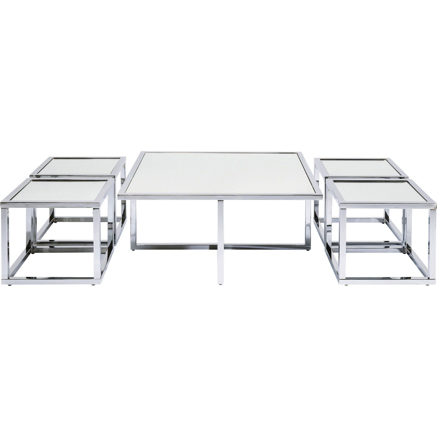Sofabord Quad Silver 80 x 80 cm (5/Sæt)