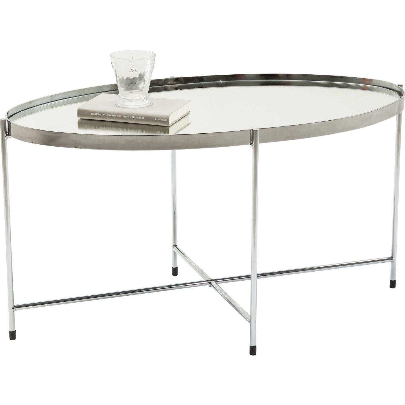 KARE DESIGN Miami sofabord - spejl og stål, oval (83x40)