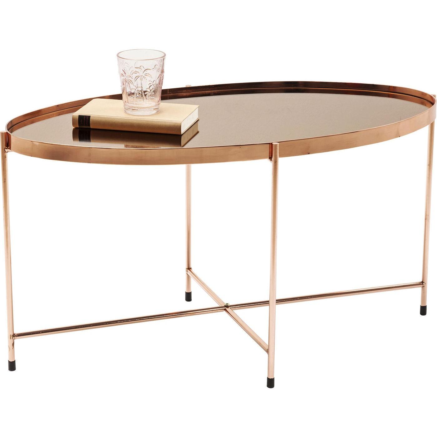 KARE DESIGN Miami sofabord - rosegold spejl og stål, oval (83x40)
