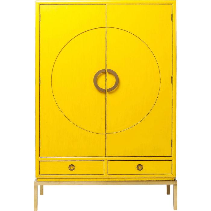 kare design Kare design disk garderobeskab - gul træ m. cirkelmønster, m. 2 skuffer fra boboonline.dk
