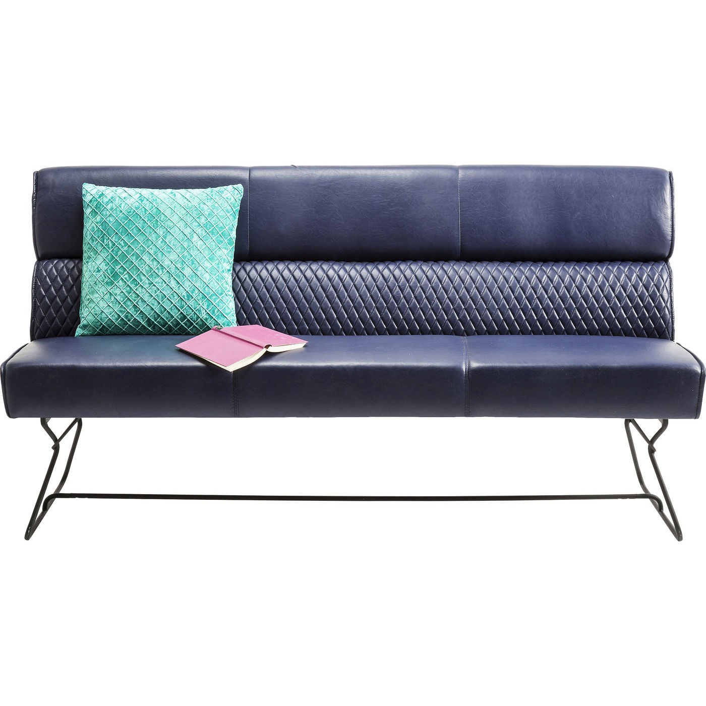 KARE DESIGN Melange sofabænk - blå stof/læder m. stålben
