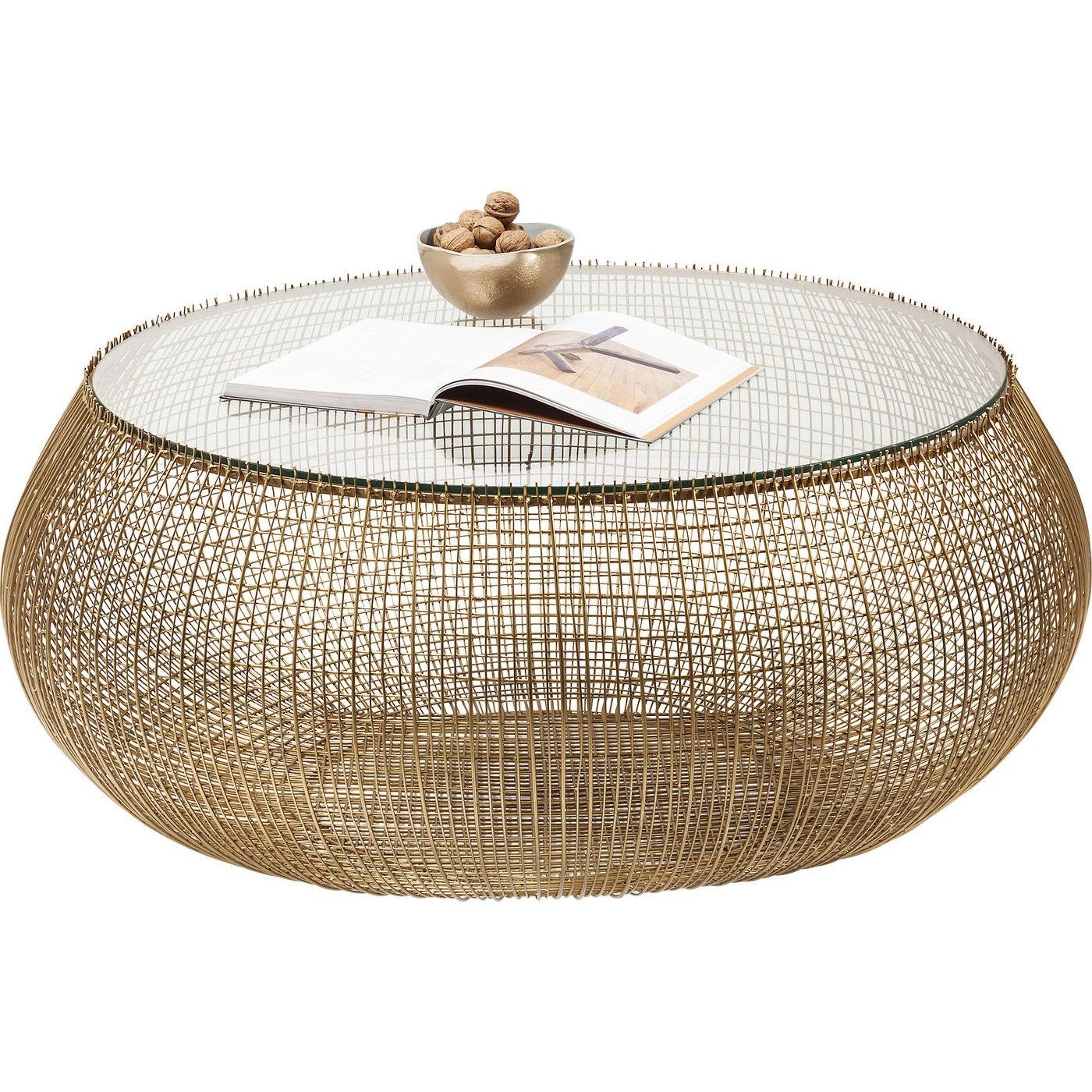 KARE DESIGN Cesta sofabord - messingbelagt stål og klart glas, rund (Ø 110)