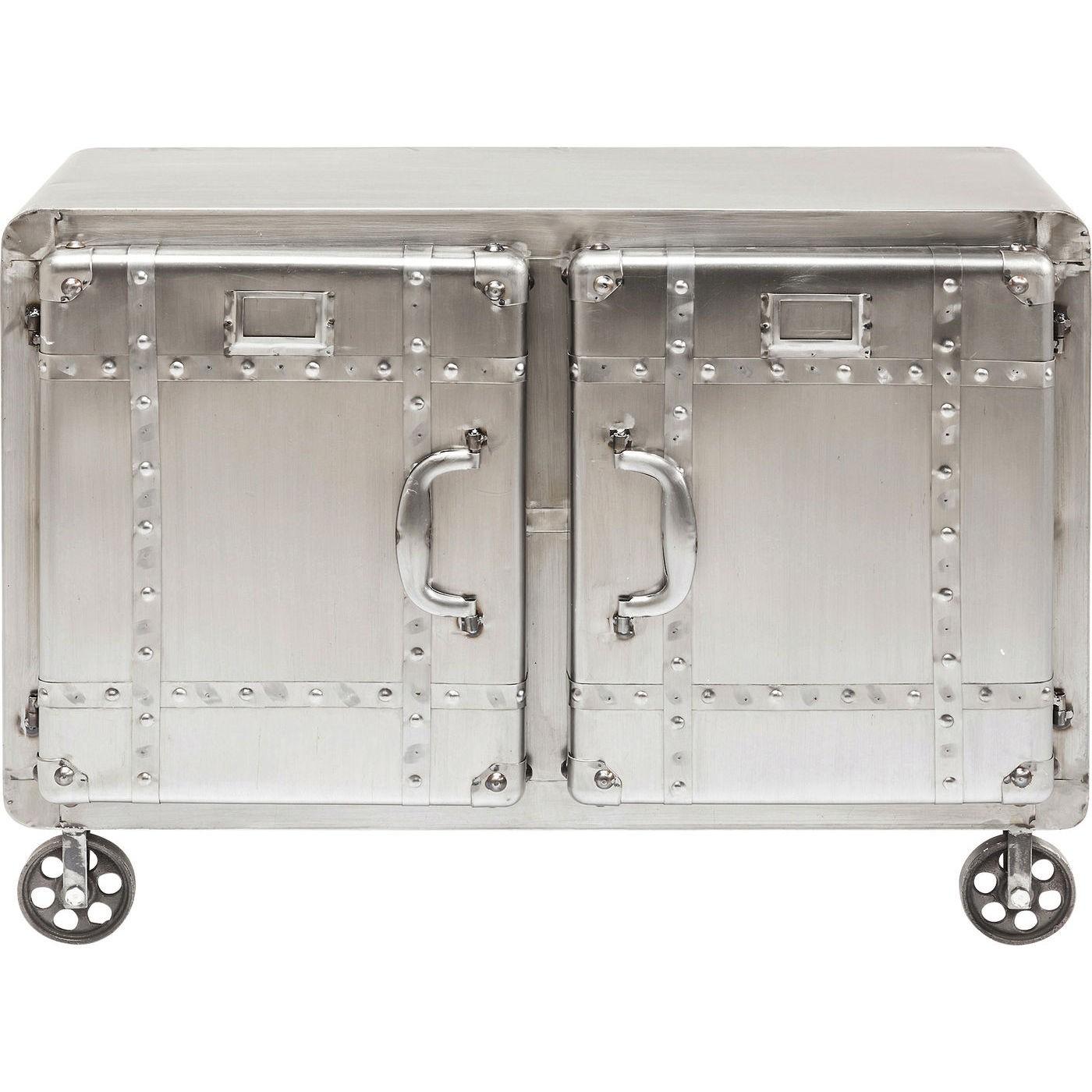 kare design – Kare design buster skab - sølv stål m. nitter - m. 2 låger, 2 hylder og hjul på boboonline.dk