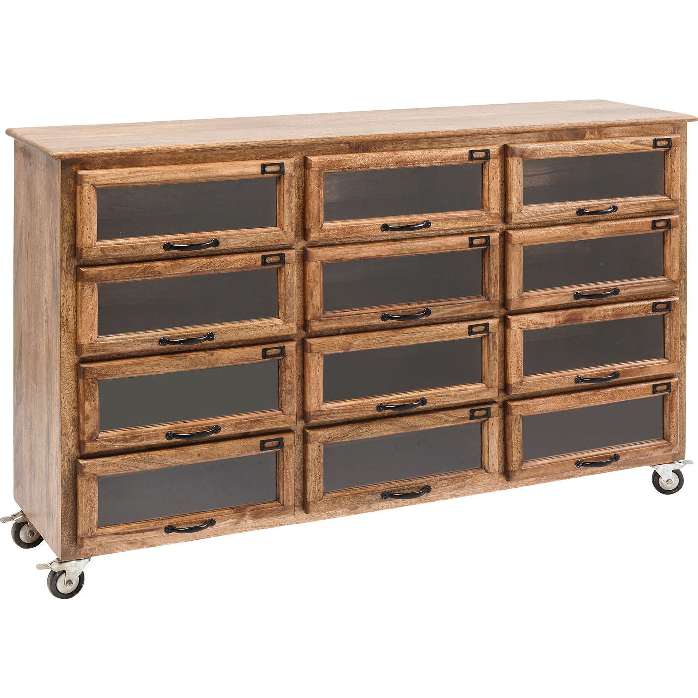 kare design drugstore kommode mangotr og glas m hjul og 12 skuffer 150x41 kommoder bobo. Black Bedroom Furniture Sets. Home Design Ideas