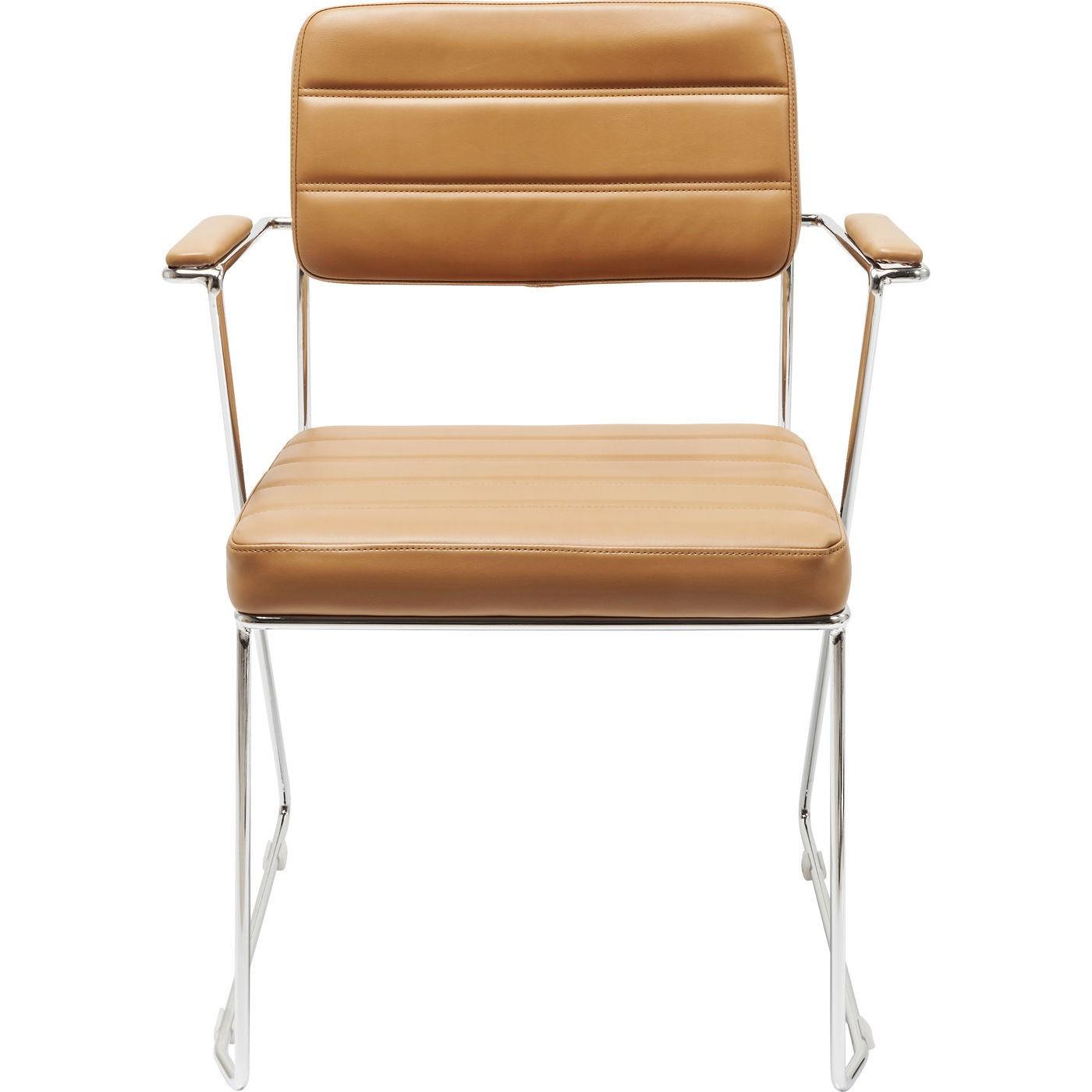 KARE DESIGN Dottore spisebordsstol - lysebrun kunstlæder m. stålben, m. armlæn