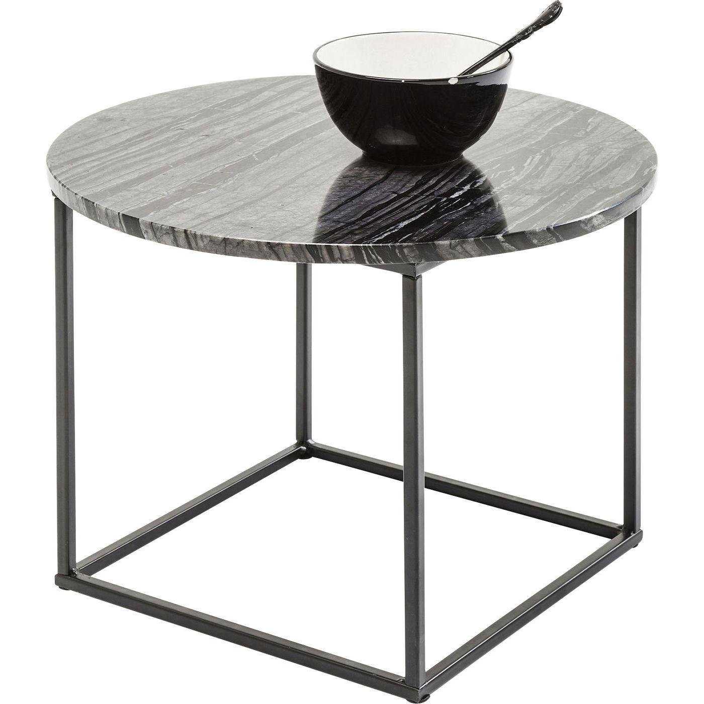 KARE DESIGN Fjord sidebord - grå/sort marmor og sort pulverlakeret stål (Ø 40)