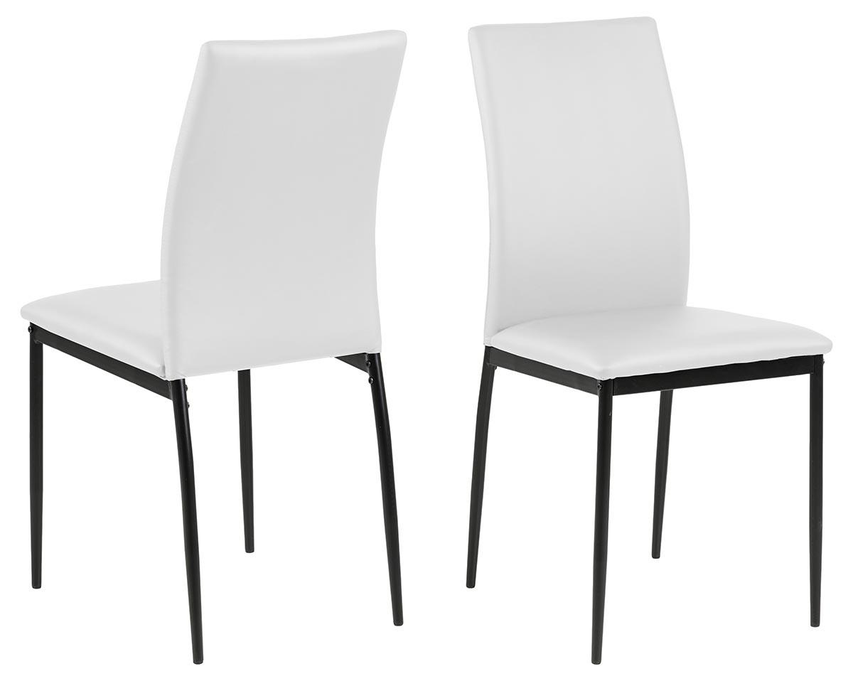 ACT NORDIC Demina spisebordsstol - hvid/sort kunstlæder/metal