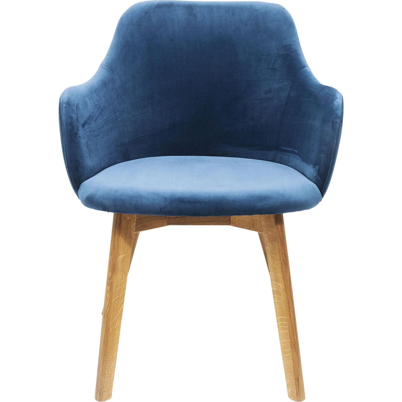 KARE DESIGN Lady Velvet perol spisebordsstol - blåt stof og egetræ, m. armlæn