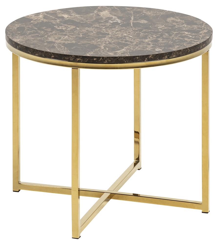 Image of   Alisma hjørnebord - brun/guld marmorpapir/metal, rund (Ø50)