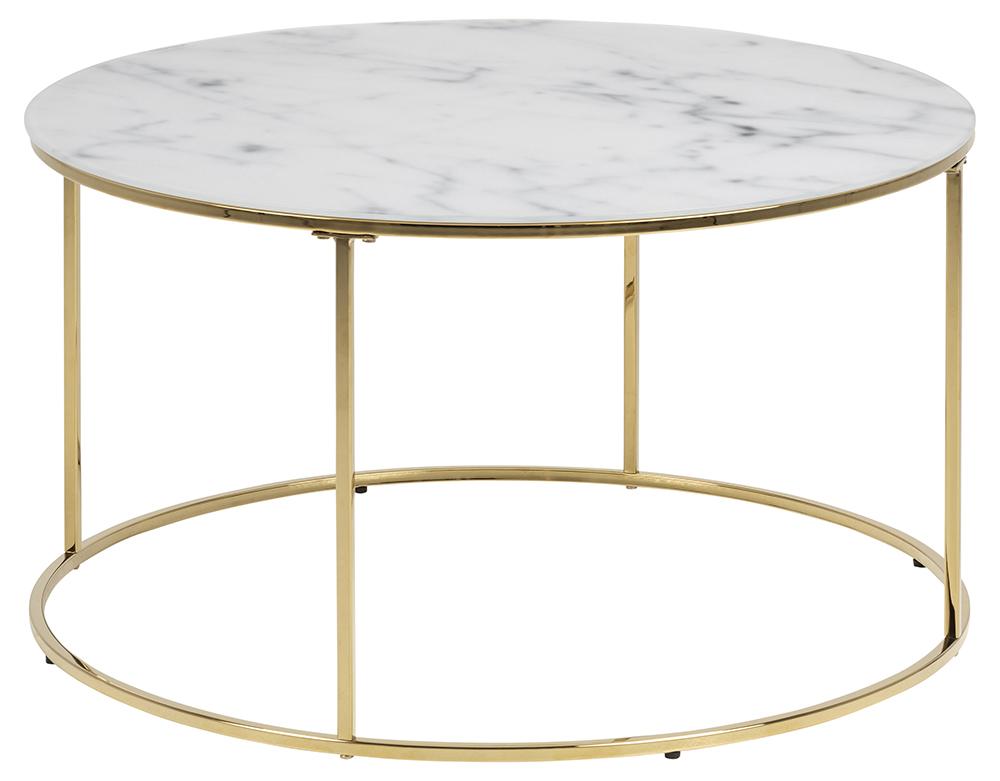 Bolton -A1 sofabord - hvid/guld glas/metal, rund (Ø80) thumbnail