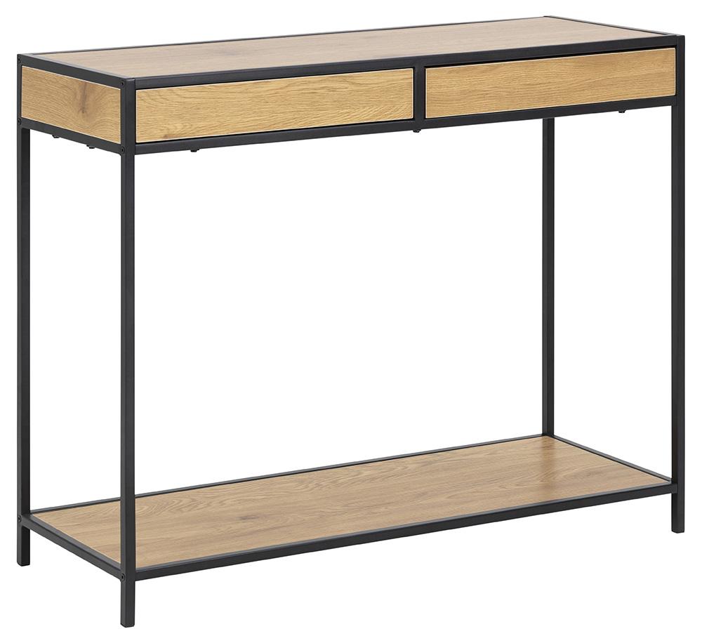 Seaford konsolbord - natur/sort papir vildeg/metal, m. 2 skuffer og 1 hylde thumbnail