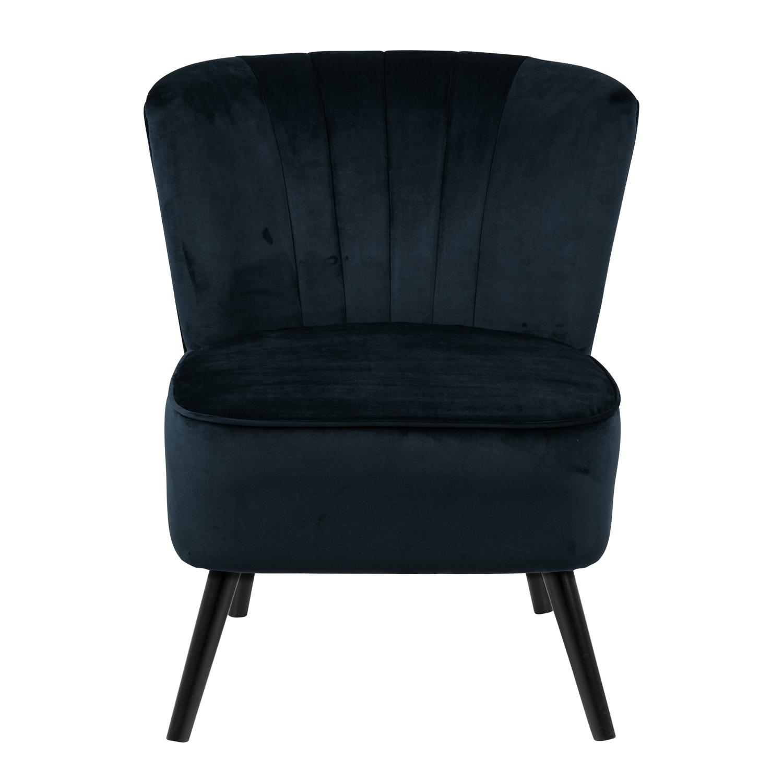Lark lænestol - marineblå stof og sort gummitræ