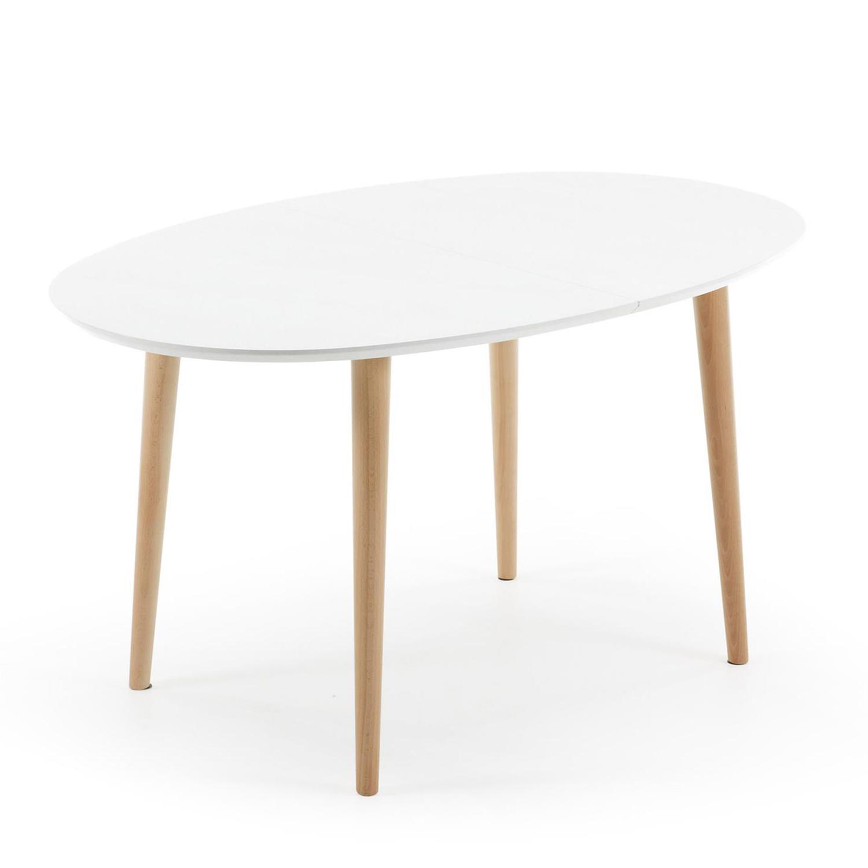 LAFORMA oval Oakland spisebord, m. udtræk - hvid MDF og natur bøgetræ (140(220)x90)