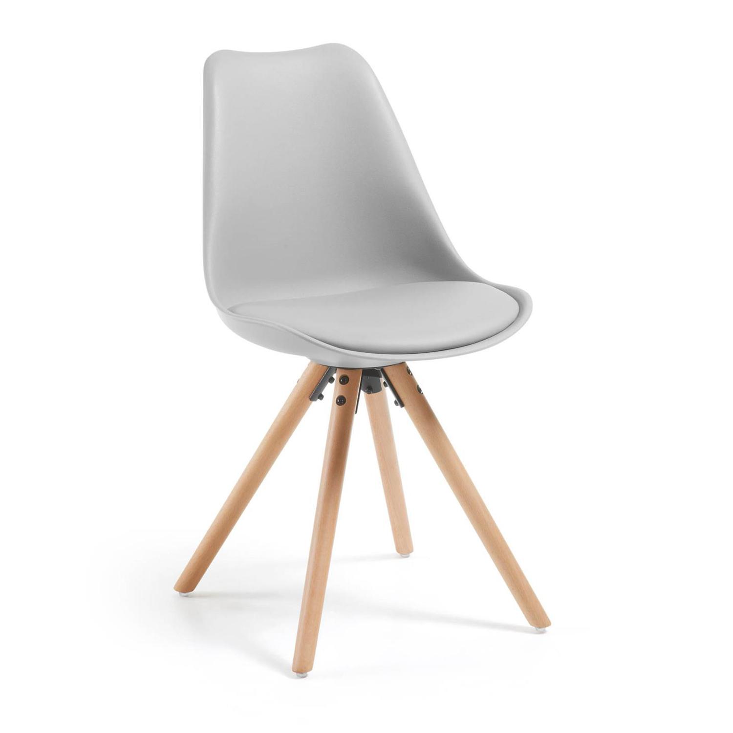LAFORMA Lars spisebordsstol - lysegrå kunstlæder og plastik, natur bøgetræ