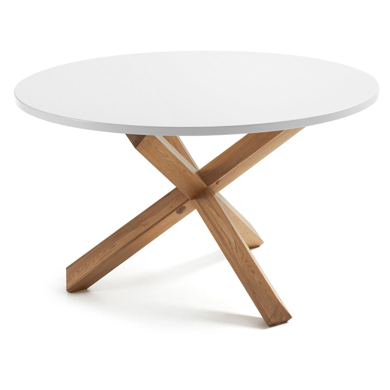 laforma Laforma nori spisebord - hvid mdf og natur egetræ (ø120) fra boboonline.dk