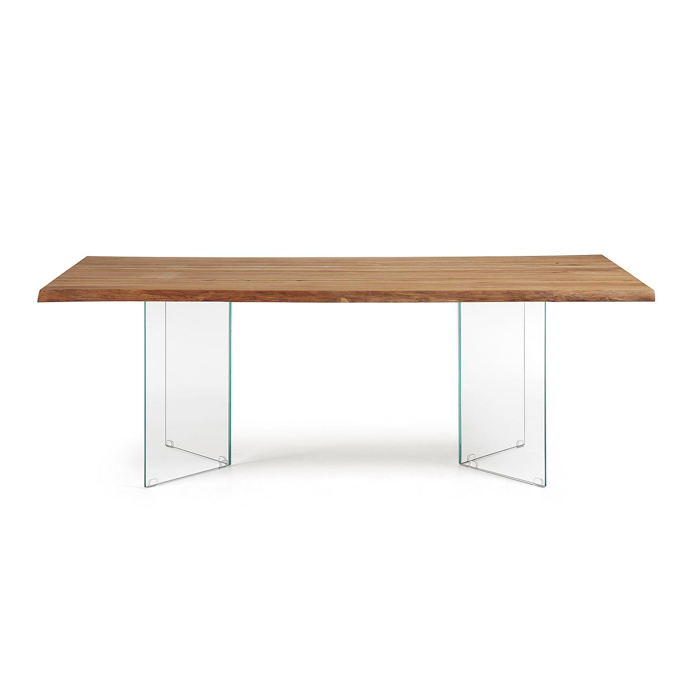 Laforma levik spisebord - klar glas og natur egetræ (220x100) fra laforma på boboonline.dk