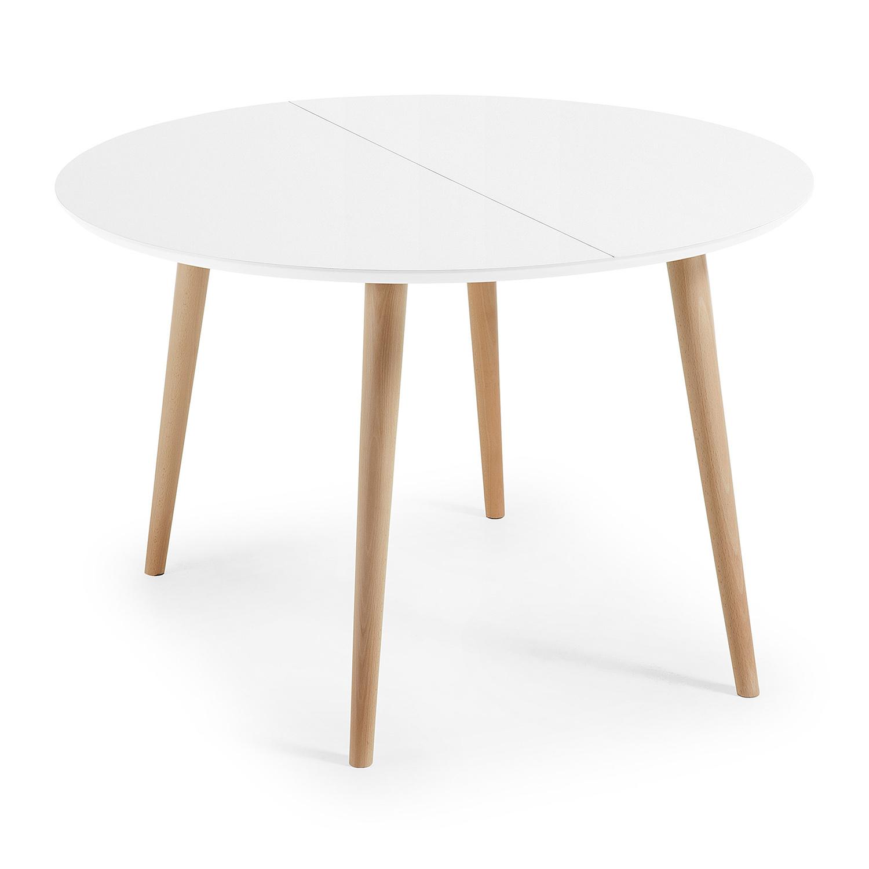 laforma – Laforma oakland spisebord, m. udtræk - hvid mdf og natur bøg (120(200)x120) på boboonline.dk