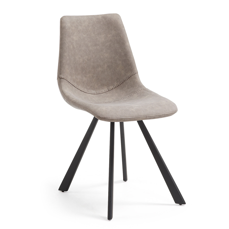 LAFORMA Andi spisebordsstol - taupe PU og sort stål