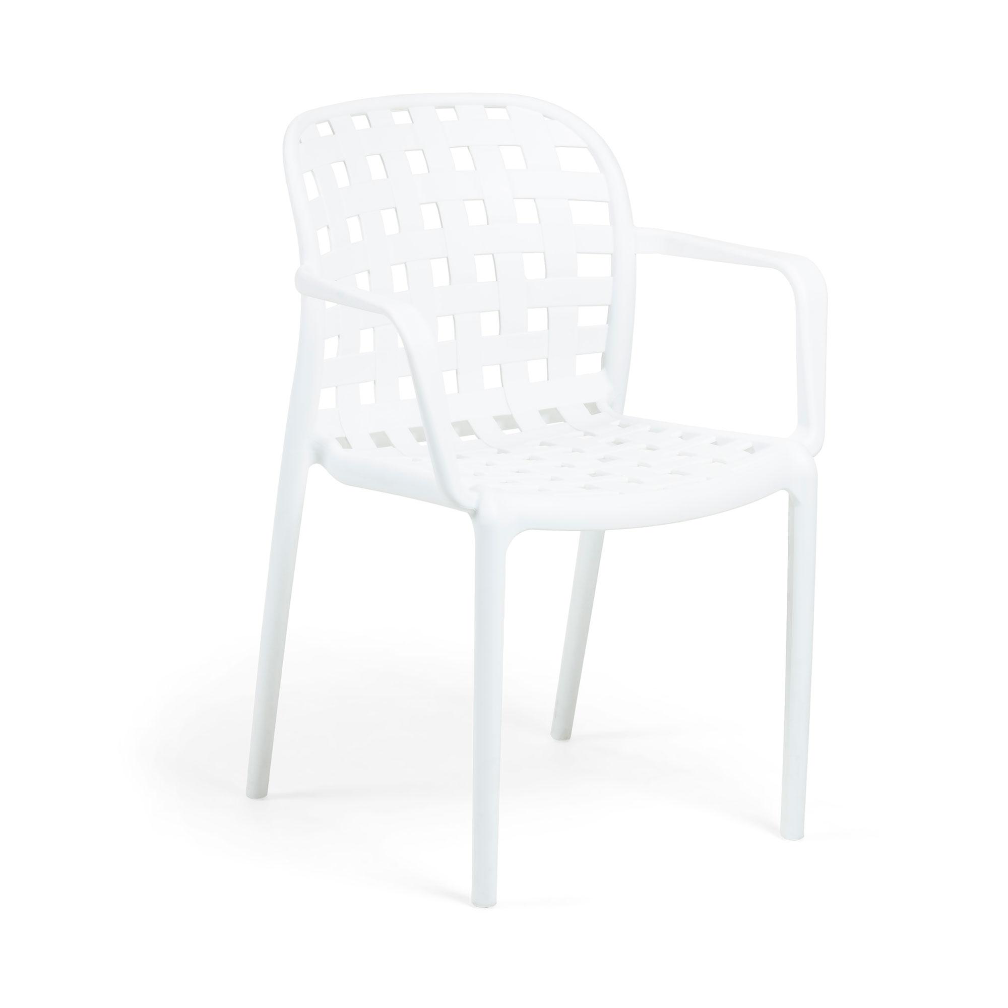 LAFORMA Onha spisebordsstol m. armlæn - hvid plastik og stål