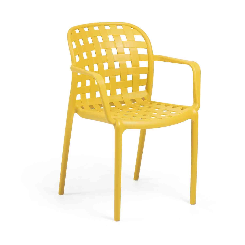 LAFORMA Onha spisebordsstol m. armlæn - sennepsgul plastik og stål