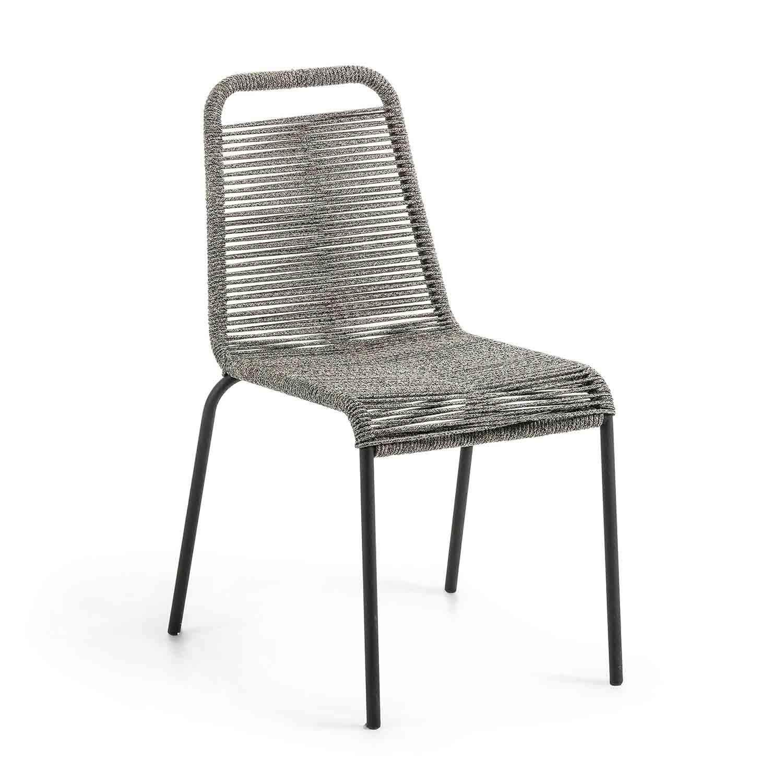 LAFORMA Glenville spisebordsstol - grå reb og sort stål