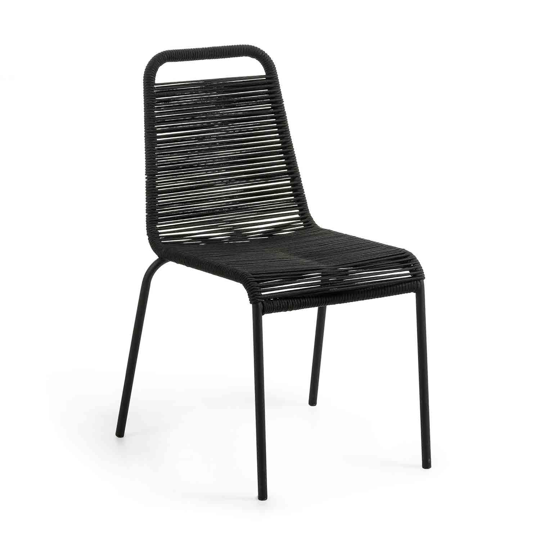LAFORMA Glenville spisebordsstol - sort reb og stål