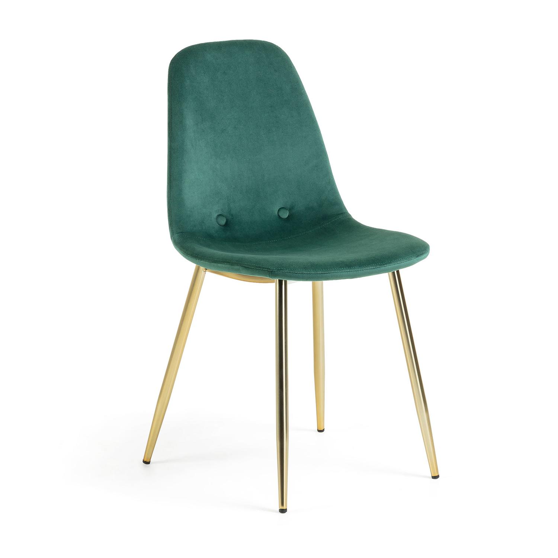 LAFORMA Lissy spisebordsstol - mørkegrøn velour og guld stål