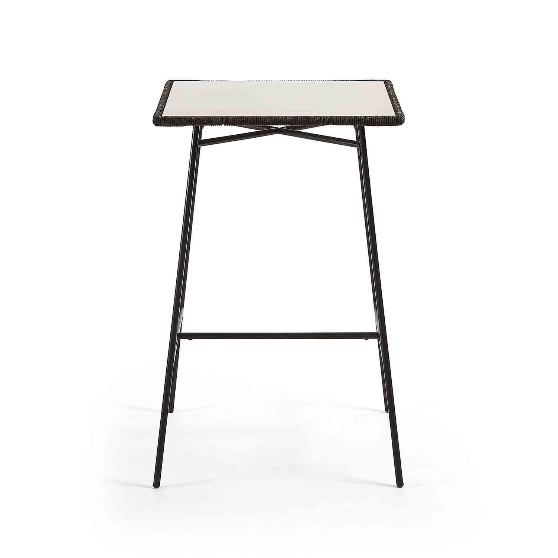 LAFORMA kvadratisk Freeman havebord - grå polycement og grå stål (70x70)