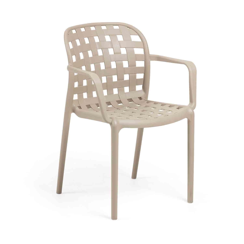 LAFORMA Onha spisebordsstol m. armlæn - beige plastik og stål