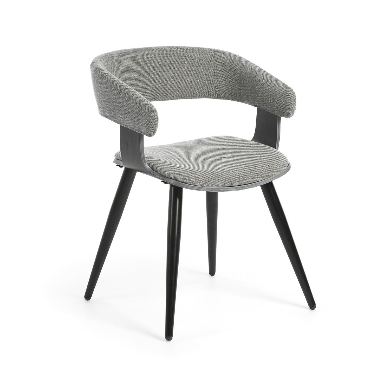 LAFORMA Heiman spisebordsstol m. armlæn - lysegrå stof og poppeltræskrydsfiner