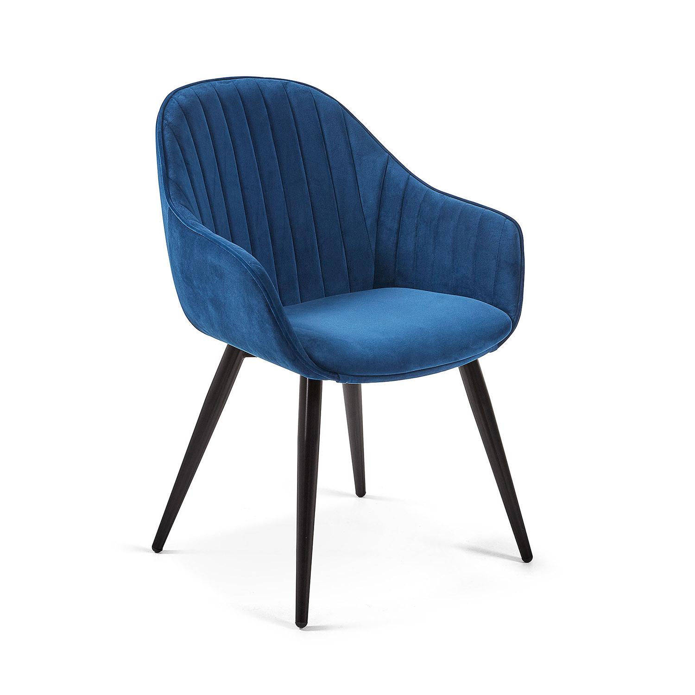LAFORMA Herbert spisebordsstol m. armlæn - blå fløjl og metal