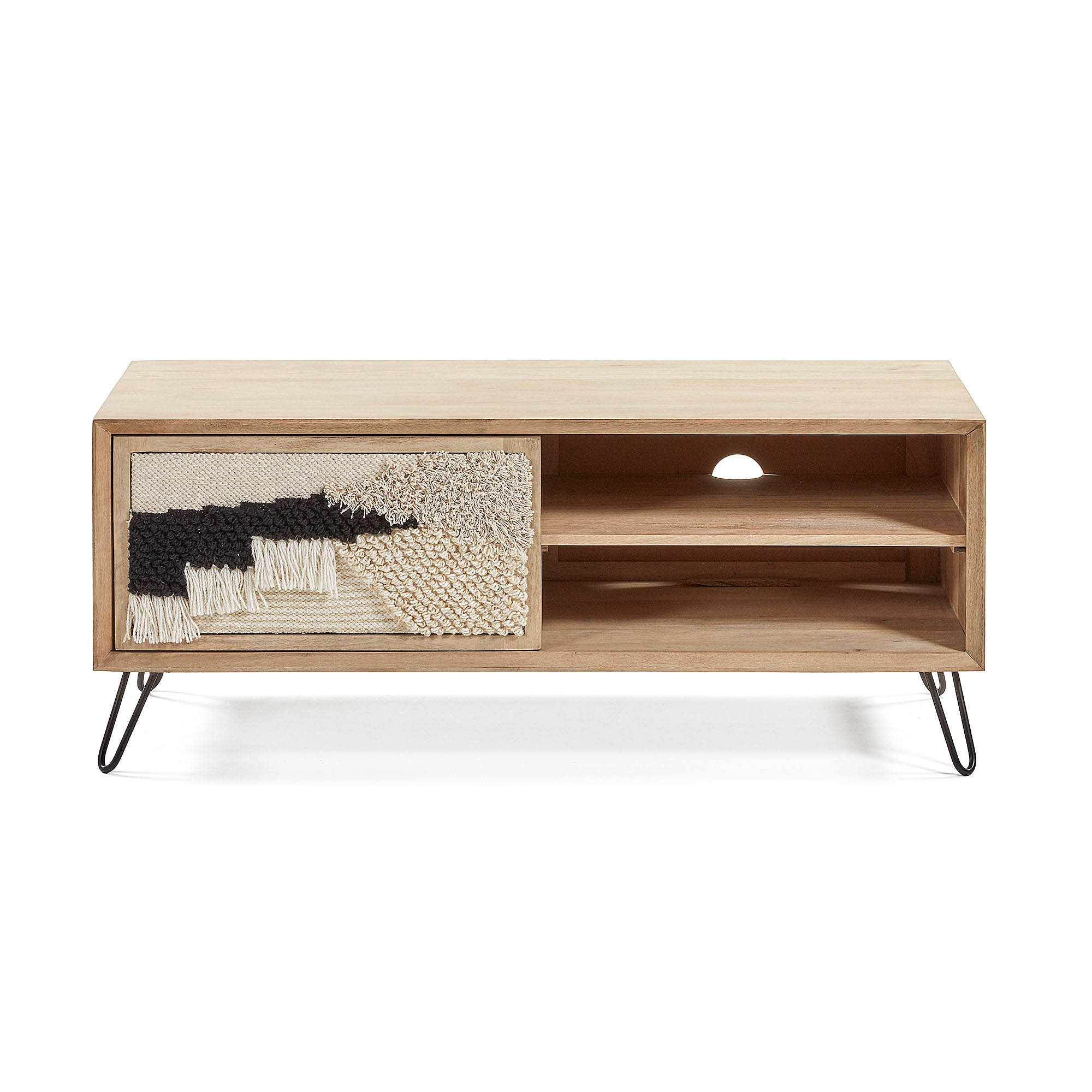 LAFORMA rektangulær Kenelly TV-bord m. 1 låge - natur mangotræ, beige og sort stof og metal