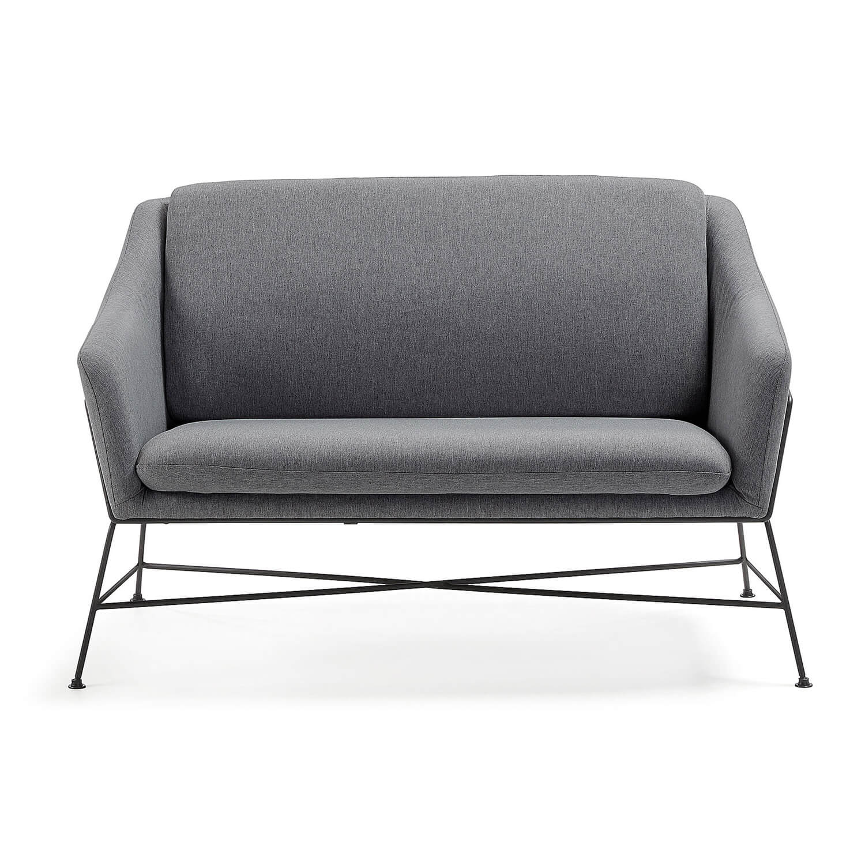 laforma – Laforma brida 2 pers. sofa - grafitgrå stof og sort stål fra boboonline.dk