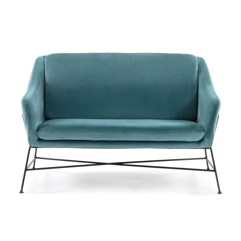 Laforma brida 2 pers. sofa - turkis fløjl og sort stål fra laforma på boboonline.dk