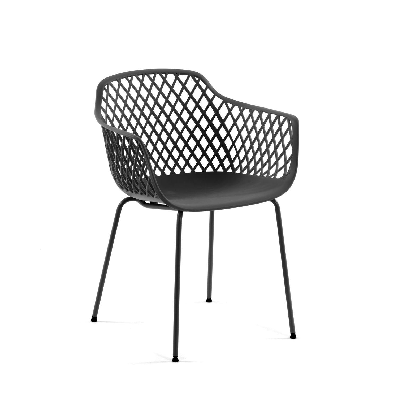LAFORMA Quinn spisebordsstol m. armlæn - grafit grå plast og metal