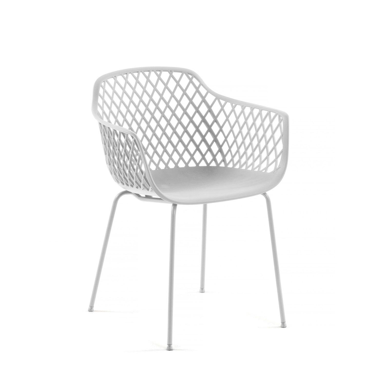 LAFORMA Quinn spisebordsstol m. armlæn - hvid plast og metal
