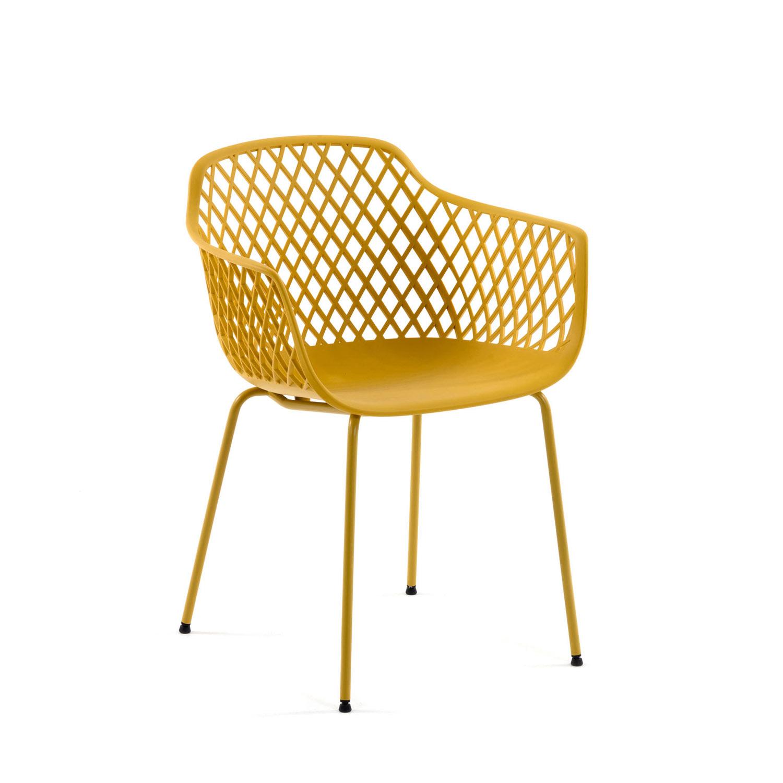 LAFORMA Quinn spisebordsstol m. armlæn - gul plast og metal
