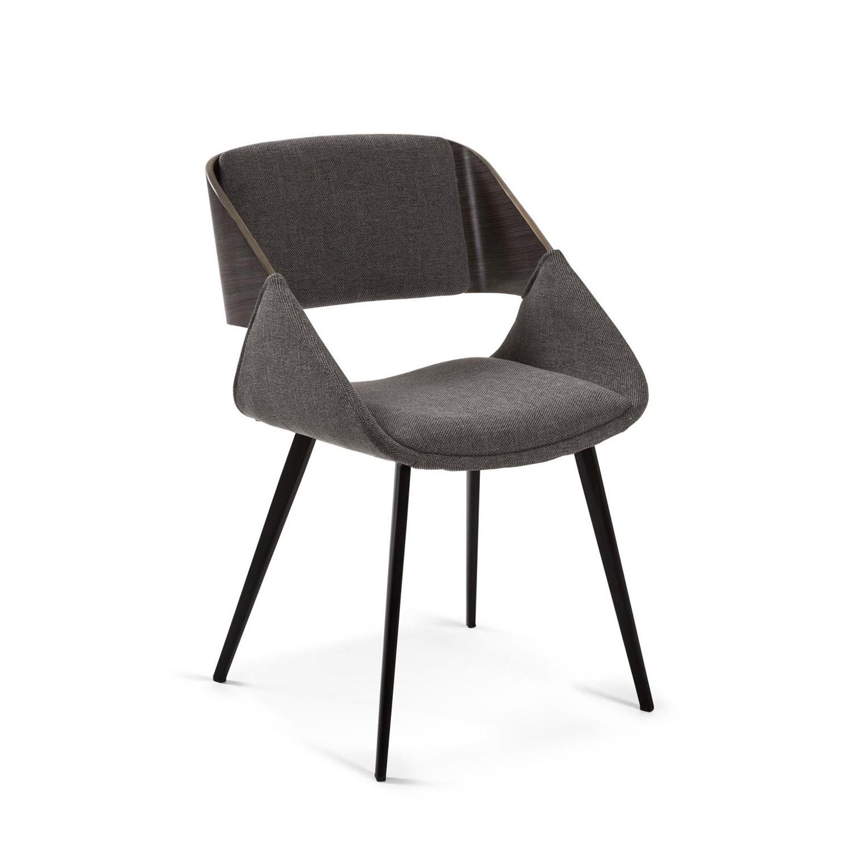 LAFORMA Herrick spisebordsstol m. armlæn - mørkegrå stof og brun træ