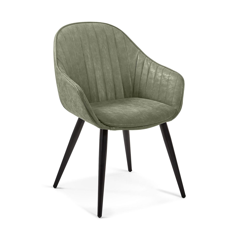 LAFORMA Herbert spisebordsstol m. armlæn - mørkegrøn stof og metal