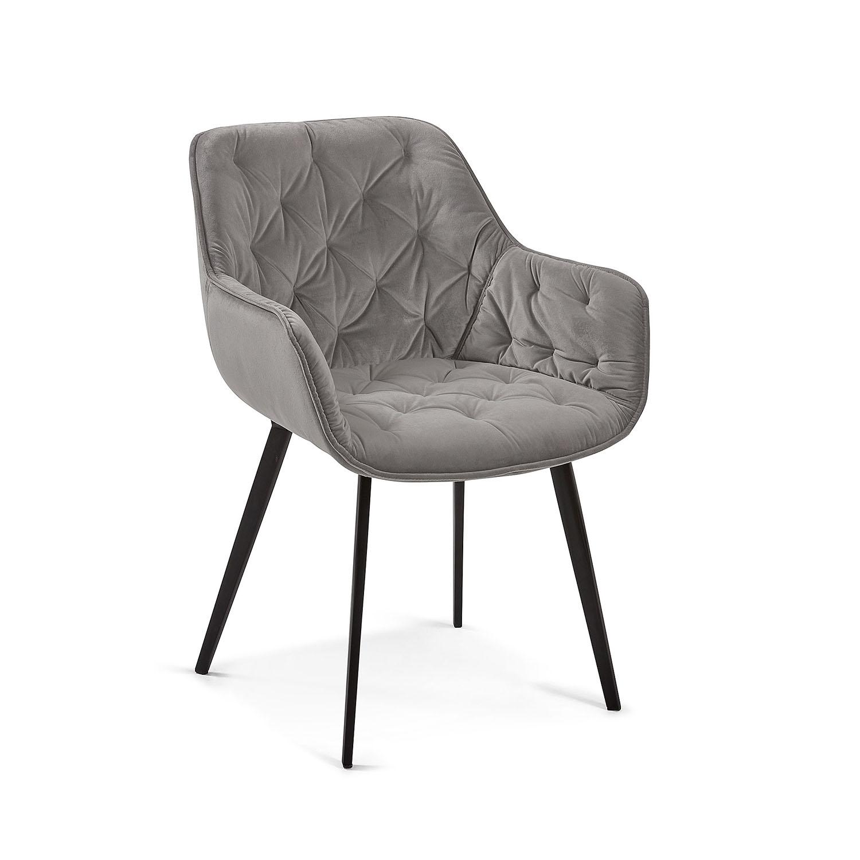 LAFORMA Mulder spisebordsstol m. armlæn - grå fløjl og metal