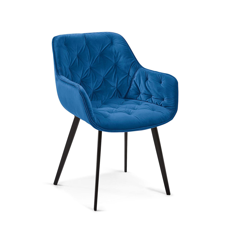 LAFORMA Mulder spisebordsstol m. armlæn - blå fløjl og metal