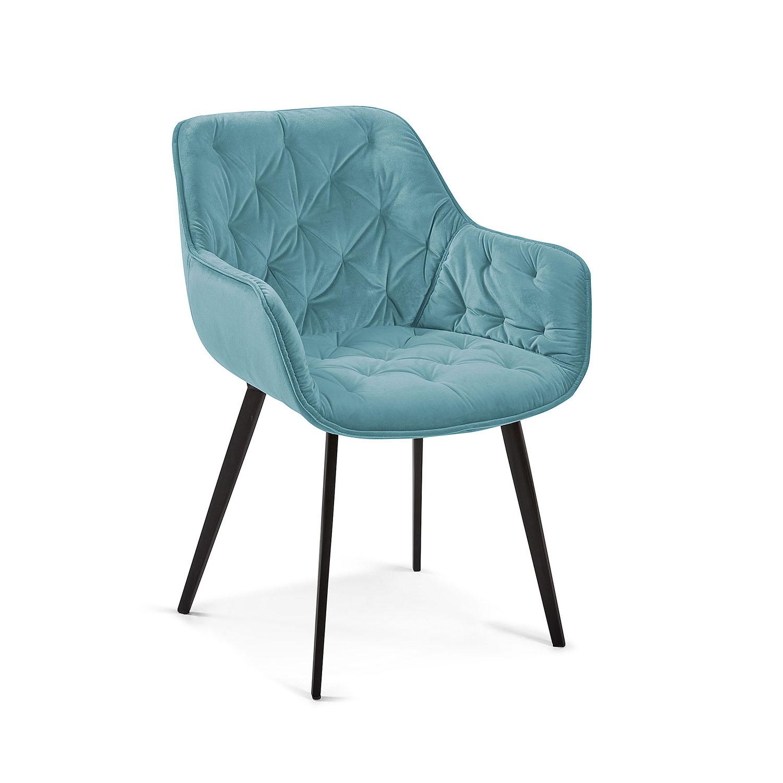 LAFORMA Mulder spisebordsstol m. armlæn - turkis fløjl og metal
